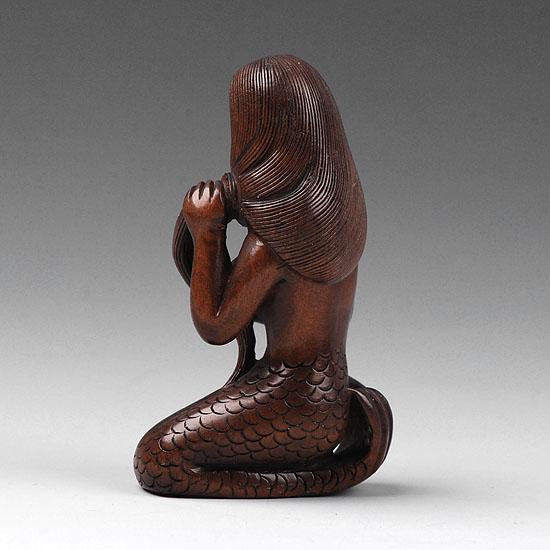 Japanese hand carved boxwood wood carving netsuke mermaid