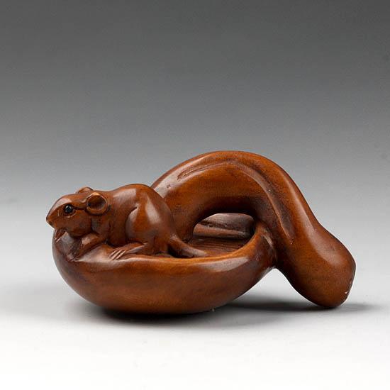 Japanese handwork boxwood wood netsuke carving mouse ebay