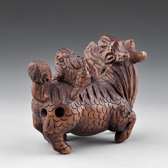 Japanese boxwood wood netsuke carving kylin with baby ebay