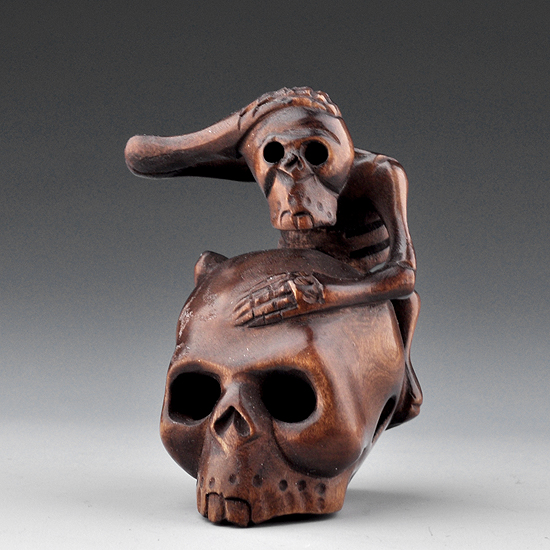 Hand carved boxwood wood netsuke carving skull skeleton ebay