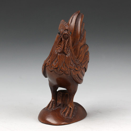 Japanese carved boxwood wood netsuke carving cock stand on