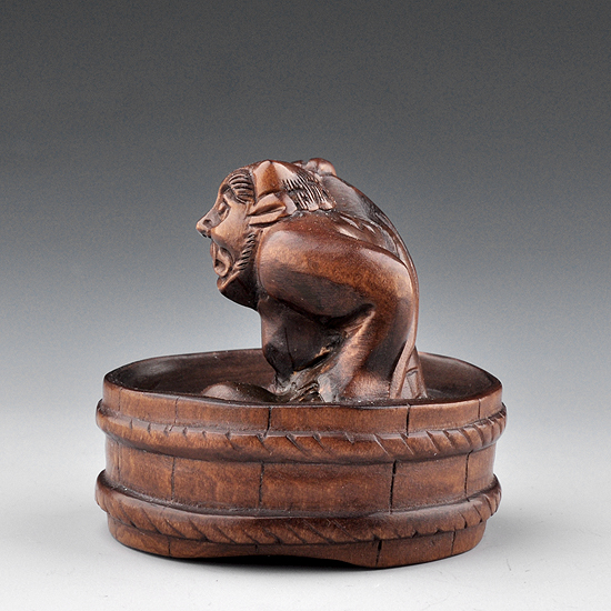 Japanese hand carved boxwood wood netsuke carving devil