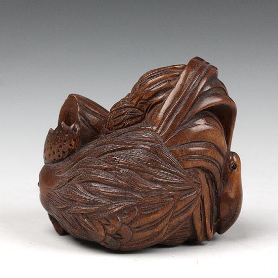 Handwork boxwood netsuke wood carving chicken family ebay