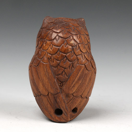 Handwork carved boxwood netsuke wood carving lucky owl