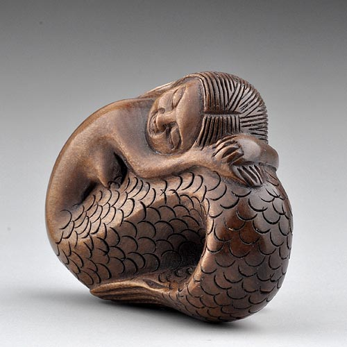 Craft wood boxwood sculpture signed carving netsuke mude