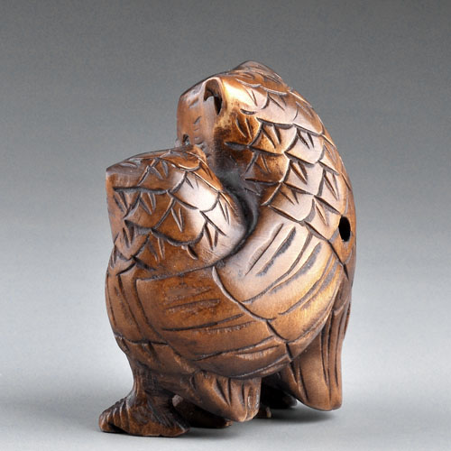 Japanese carving sculpture boxwood wood netsuke two