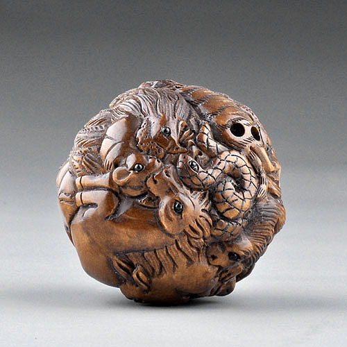 Carving sculpture boxwood wood netsuke the twelve