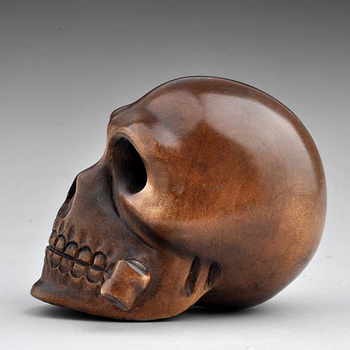 Craft wood boxwood sculpture carving statue netsuke skull