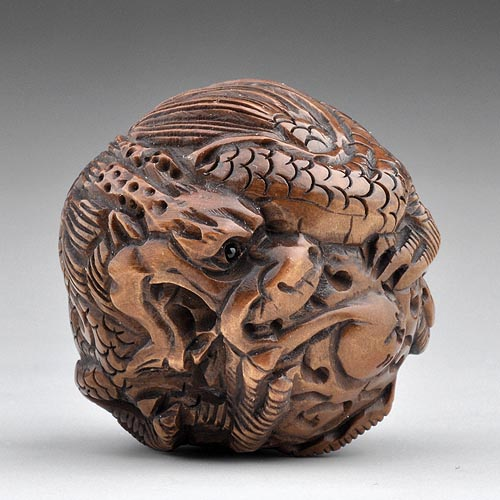 Japanese craft wood boxwood sculpture carving statue