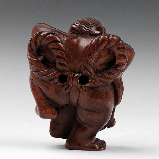 Japanese boxwood netsuke wood carving sumo wrestler ebay
