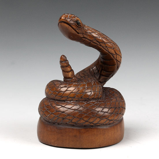 Carved boxwood netsuke wood carving snake sculpture ebay
